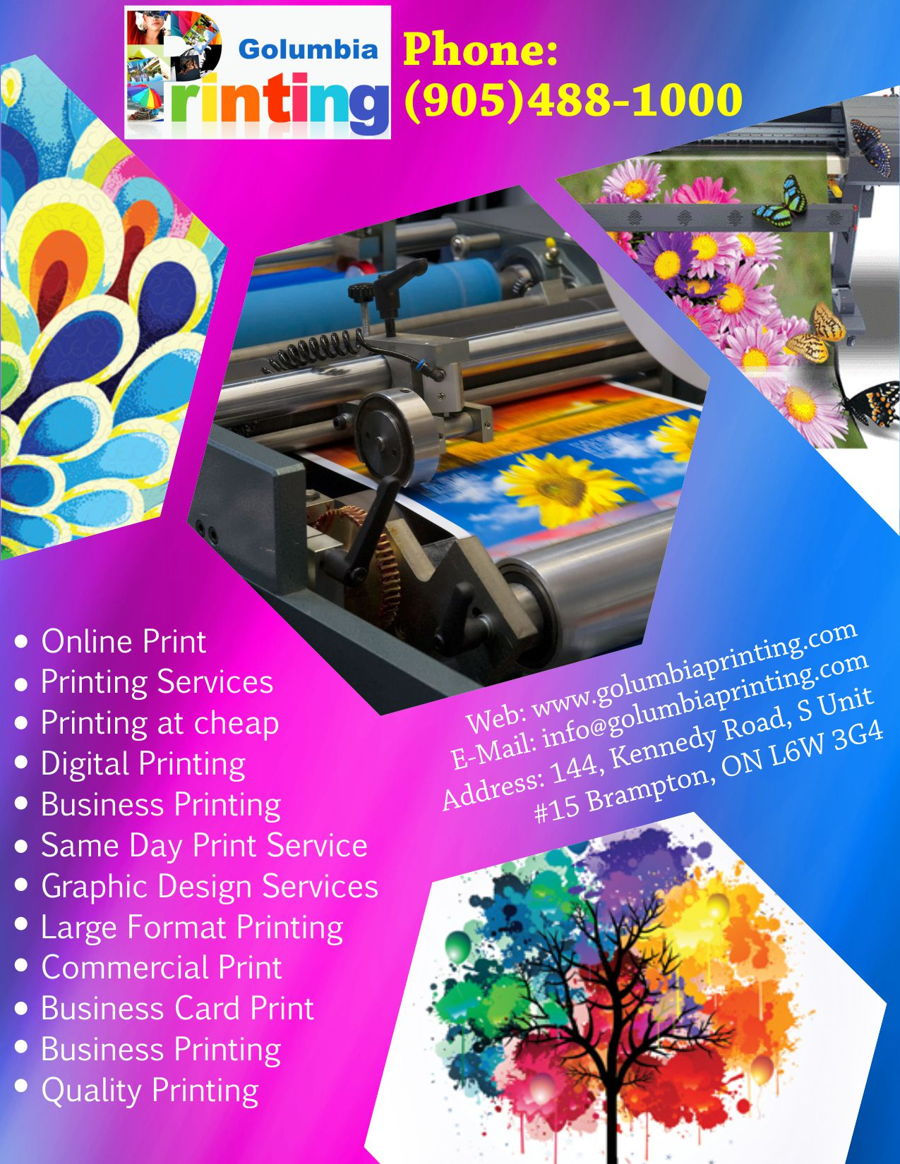 golumbia printing same day business cards brampton