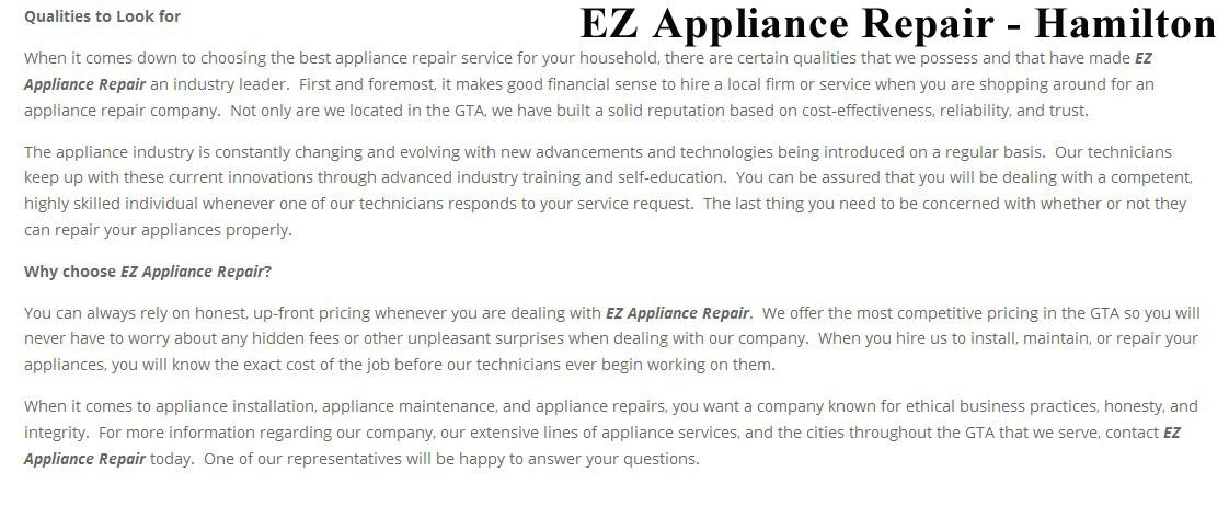 Ez Appliance Repair Phone 289 639 2024 Hamilton On